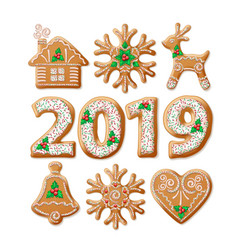 Christmas gingerbread realistic set vector