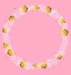 circle frame of white outline and golden flowers vector image