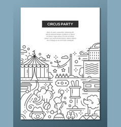 Circus carnival party line design composition vector image
