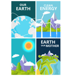 Clean energy for mother earth planet protection vector