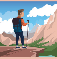 colorful landscape of climbing man at the top of vector image