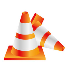 Colorful realistic striped couple traffic cone vector