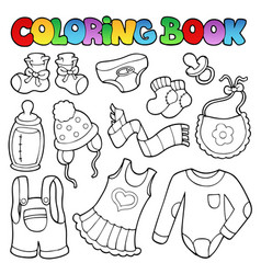 coloring book baby clothes vector image