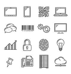 devices and application outline line art icons vector image