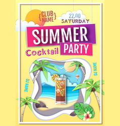 disco summer cocktail party poster vector image