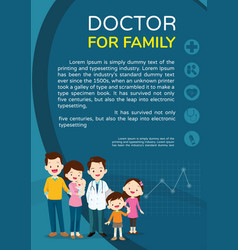 Doctor and family background poster portrait vector