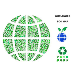 Ecology green mosaic planet globe vector