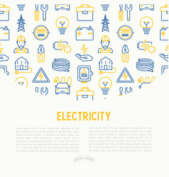 Electricity concept with thin line icons vector