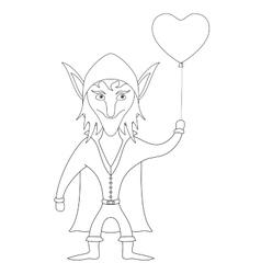 Elf with heart balloon contour vector