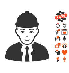 Engineer icon with love bonus vector