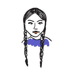 eskimo woman hand drawn isolated icon vector image