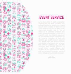 event services concept with thin line icons vector image