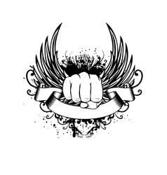 fist wings and patterns vector image