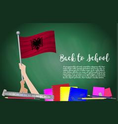 Flag of albania on black chalkboard background vector