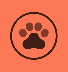 Flat icon on background dog trail vector