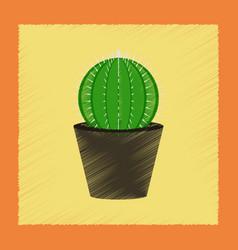 Flat shading style plant cactoideae vector