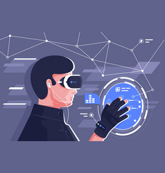 flat young man with helmet and controllers in vector image