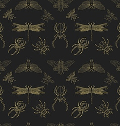 Gold and black insects seamless pattern vector