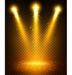 Golden spot light beams projection on floor vector