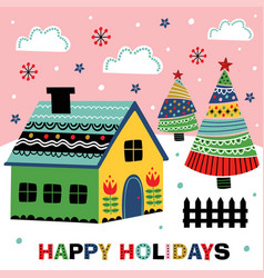 greeting card with decorative house vector image