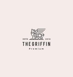 griffin logo retro vintage hipster label vector image