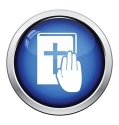 Hand on Bible icon vector image