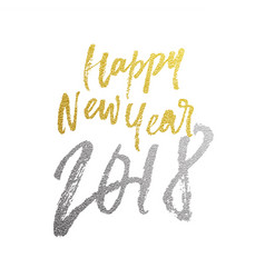 happy new year 2018 golden glitter calligraphy vector image