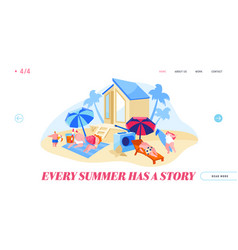 happy people relaxing on beach landing page vector image