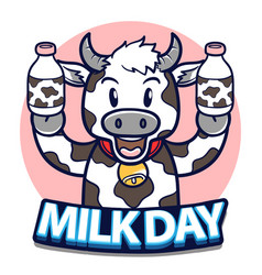 happy world milk day with cow holding milk bottle vector image
