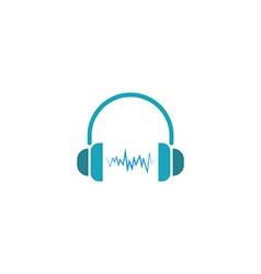 Headphones dj logo sound wave music icon vector