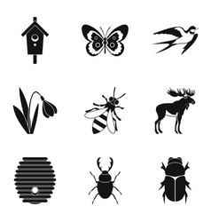 Herbivorous icons set simple style vector