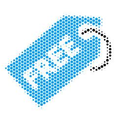 Hexagon halftone free tag icon vector