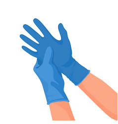 Hospital doctor wearing medical latex gloves on vector