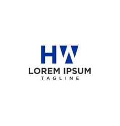 hw negative space logo vector image