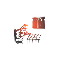 Insomnia bed woman night problem concept hand vector