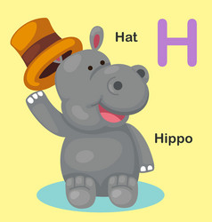 Isolated animal alphabet letter h-hat hippo vector