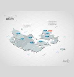 Isometric denmark map with city names and vector