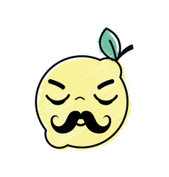 Kawaii nice sleeping lemon fruit vector