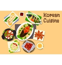 Korean cuisine seafood dinner dishes icon vector