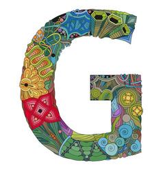 letter g zentangle zentangle object for vector image