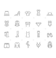 Line woman clothing icons vector