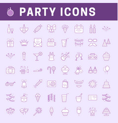 Liner party icons vector