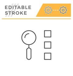 list search editable stroke line icon vector image