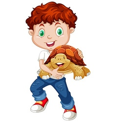 Little boy hugging turtle vector