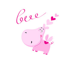love pink hippo with hearts isolated vector image