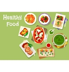 Lunch meal dishes icon for healthy food design vector