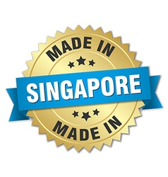 Made in Singapore gold badge with blue ribbon vector