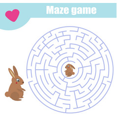 maze game help rabbit mother find baby labyrinth vector image
