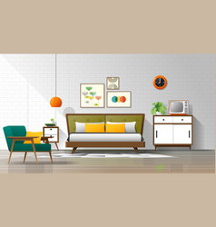 Mid century modern bedroom background vector