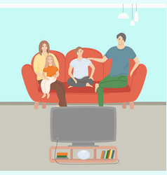 mom and dad daughter and son watching tv vector image